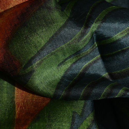 Close Out Deal - 100% Mulberry Silk Green, Black and Multi Colour Hand Screen Peacock Plum Printed Scarf (Size 200x100 Cm)