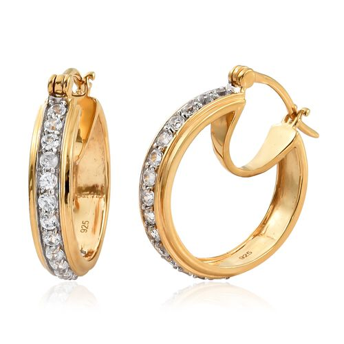 1.50 Ct Natural Cambodian Zircon Hoop Earrings in Gold Plated Silver 5.00 gms (with Clasp)