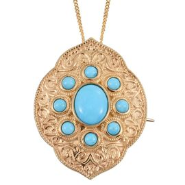 Royal Jaipur Arizona Sleeping Beauty Turquoise (Ovl 1.90 Ct), Burmese Ruby Pendant With Chain in 14K Gold Overlay Sterling Silver 3.020 Ct.