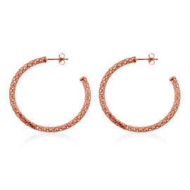 Rose Gold Overlay Sterling Silver Hoop Earrings (with Push Back), Silver wt 3.00 Gms.