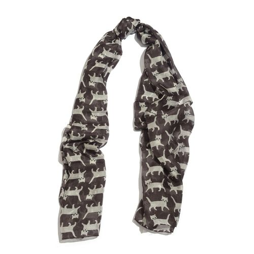100% Mulberry Silk White Cat Pattern Chocolate Colour Scarf (Size 175x100 Cm)