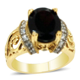Mozambique Garnet (Ovl 4.98 Ct), Natural Cambodian White Zircon Ring in Yellow Gold Overlay Sterling Silver 5.480 Ct.