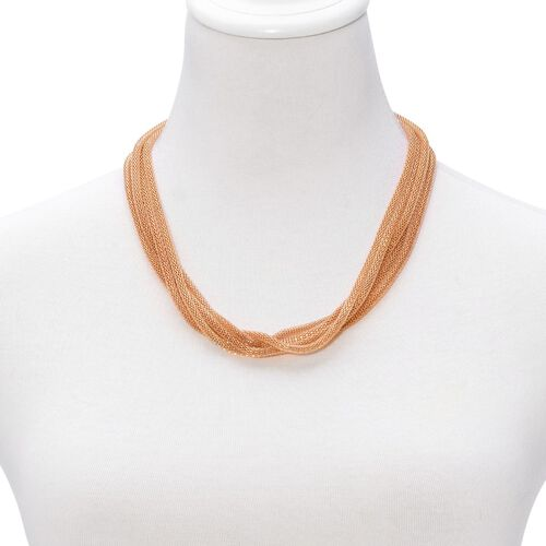 Multi Strand Mesh Necklace (Size 18) in Gold Tone