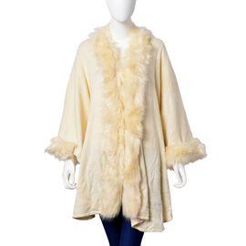 Designer Inspired - Super Soft Cream Colour Kimono with Faux Fur on Edges (Free Size)