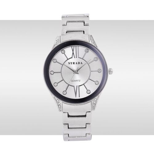 STRADA Japanese Movement White Austrian Crystal Studded Silver Dial Water Resistant Watch in Silver Tone with Stainless Steel Back and Chain Strap