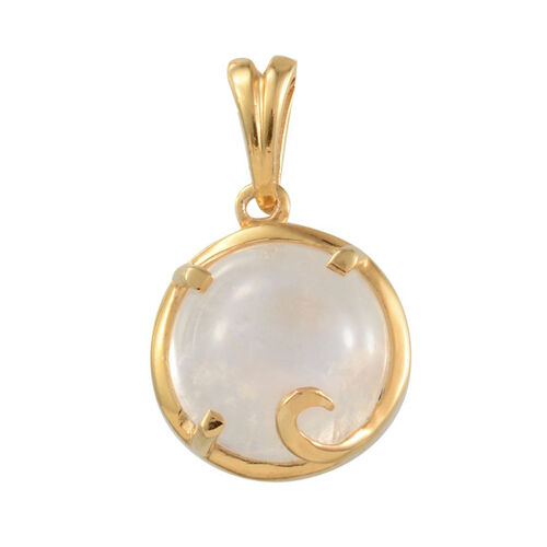 Rainbow Moonstone (Rnd) Solitaire Pendant in 14K Gold Overlay Sterling Silver 6.000 Ct.