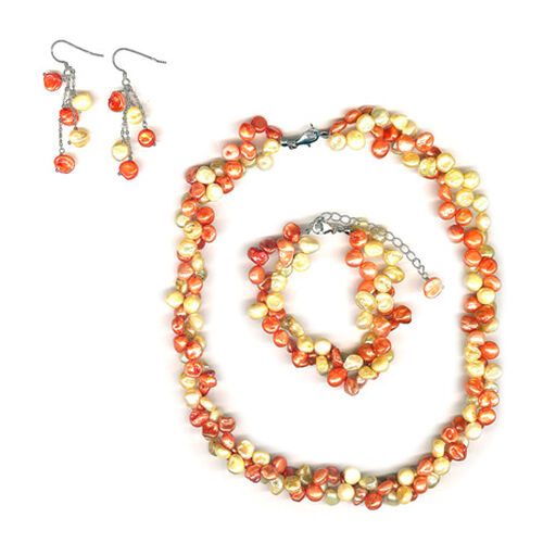 Keshi Pearl - Enhanced Champagne, Enhanced Brass Copper Necklace, Bracelet and Earrings in Sterling Silver 193.00 Ct.