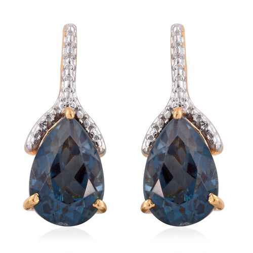 Indicolite Quartz (Pear) Earrings (with Push Back) in 14K Gold Overlay Sterling Silver 7.000 Ct.