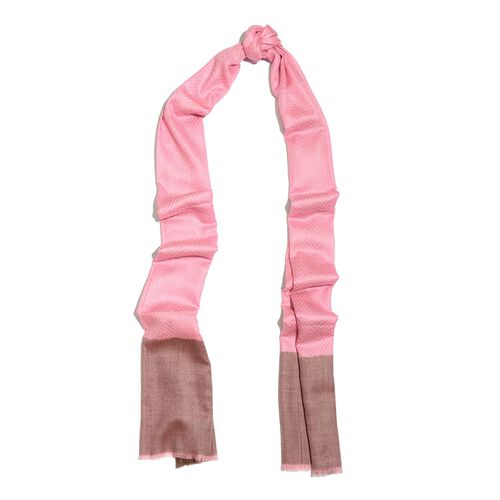 100% Cashmere Wool Fishbone Pattern Pink and Chocolate Colour Scarf with Fringes (Size 200x70 Cm)