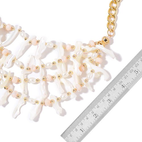 Handcrafted White Shell, Simulated White Pearl and Beads Necklace (Size 21 with 2 inch Extender) in Yellow Gold Tone