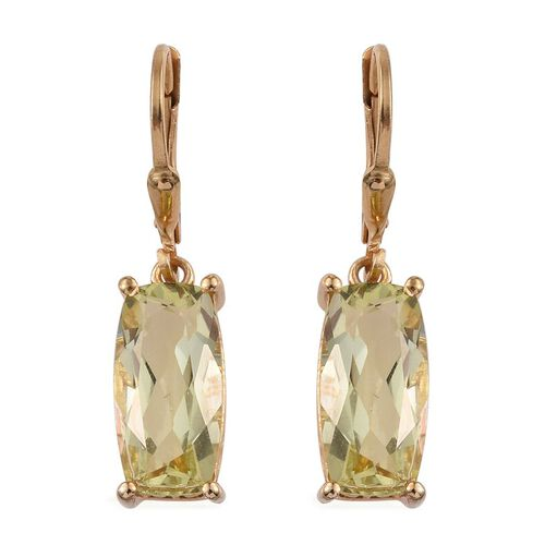 Natural Ouro Verde Quartz (Cush) Earrings in 14K Gold Overlay Sterling Silver 7.000 Ct.