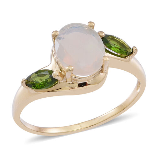 9K Y Gold Ethiopian Welo Opal (Ovl 1.00 Ct), Russian Diopsode Ring 1.500 Ct.