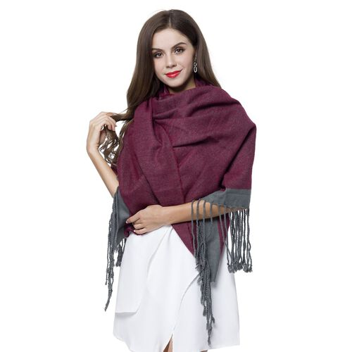Close Out Deal-Burgundy and Grey Colour Scarf with Tassels (Size 190X70 Cm)