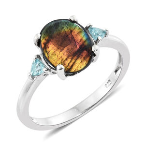 Spectrolite (Ovl 2.10 Ct), Paraiba Apatite Ring in Platinum Overlay Sterling Silver 2.250 Ct.