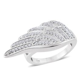 J Francis - Platinum Overlay Sterling Silver (Rnd) Angel Wing Ring Made with SWAROVSKI ZIRCONIA