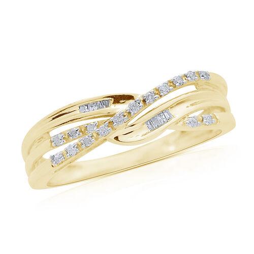 9K Yellow Gold 0.10 Carat Diamond Criss Cross Ring SGL Certified (Rnd) (I3/G-H)