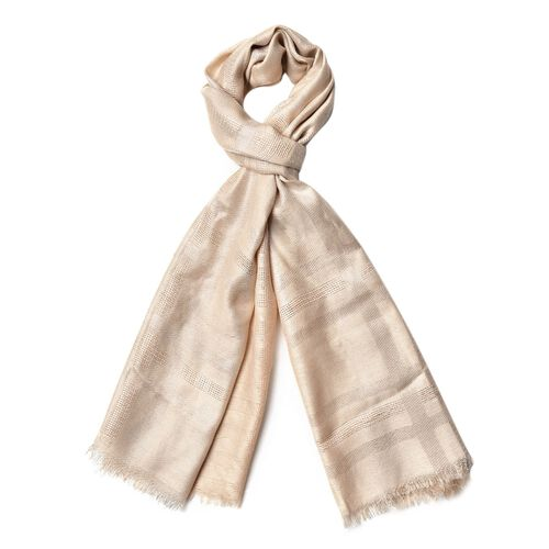 Checks Pattern Silver and Beige Colour Scarf (Size 180x70 Cm)