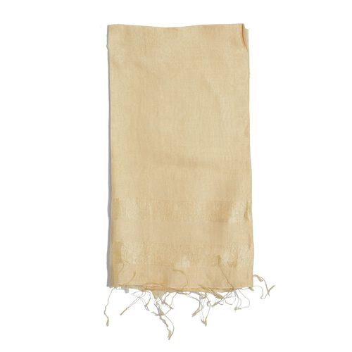 30% Silk and 70% Viscose Beige Colour Shawl (Size 175x65 Cm)