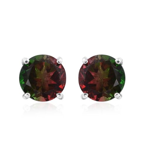 Bi-Color Tourmaline Quartz (Rnd) Stud Earrings (with Push Back) in Platinum Overlay Sterling Silver 4.750 Ct.