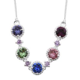 J Francis Crystal From Swarovski - Multi Colour Swarovski Crystal Necklace (Size 18) in Platinum Overlay Sterling Silver