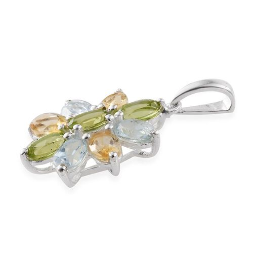 Sky Blue Topaz (Ovl), Citrine and Hebei Peridot Floral Pendant in Sterling Silver 4.000 Ct.