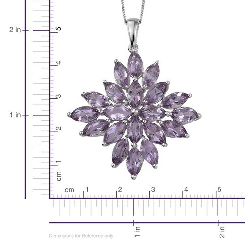 Rose De France Amethyst (Mrq) Cluster Pendant With Chain in Platinum Overlay Sterling Silver 10.000 Ct.