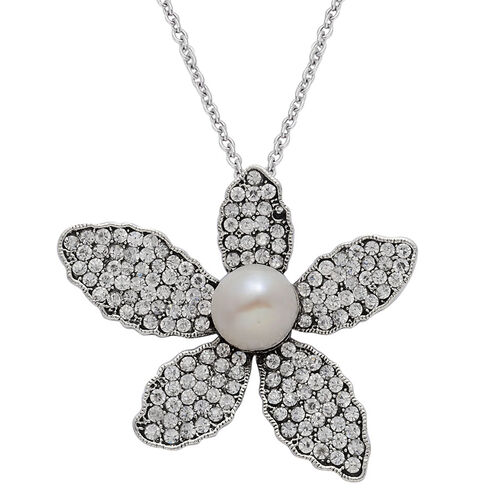 Fresh Water White Pearl, White Austrian Crystal Floral Pendant With Chain in Black Tone With Stainless Steel