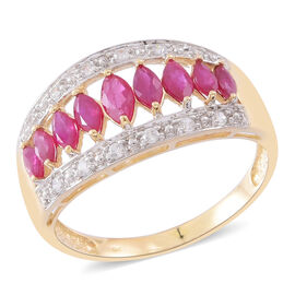 Designer Inspired-9K Y Gold AAA Burmese Ruby (Mrq), Natural Cambodian Zircon Ring 2.000 Ct.