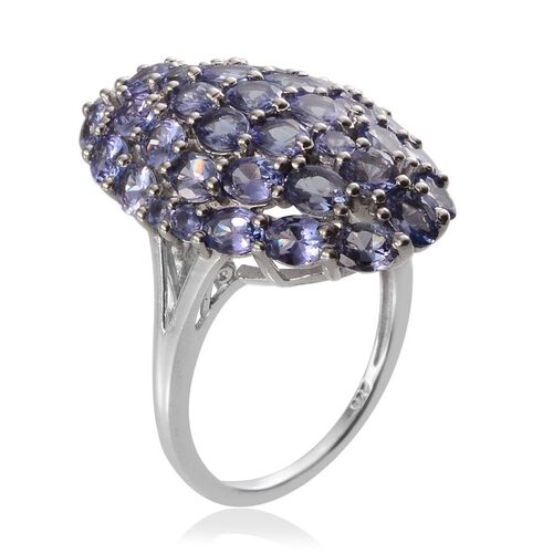 Tanzanite (Ovl) Cluster Ring in Platinum Overlay Sterling Silver 5.600 Ct.