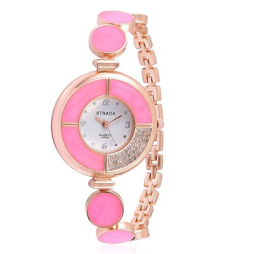 STRADA Japanese Movement White Austrian Crystal Pink Colour Enameled Watch in Rose Gold Tone with Stainless Steel Back