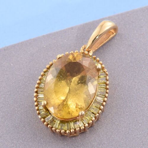 Rare AAA Size Golden Honey Apatite (Ovl 6.00 Ct), Yellow Diamond Pendant in 14K Gold Overlay Sterling Silver 6.500 Ct.