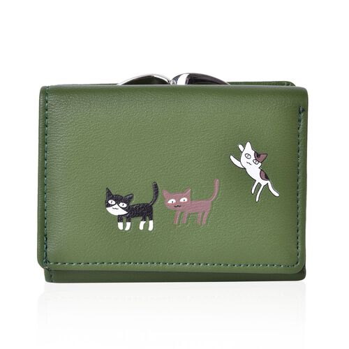 Kitty Pattern Green Colour Ladies Wallet with Multiple Card Slots (Size 10.8X8.5x3 Cm)