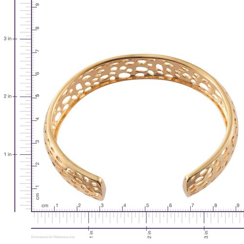Coral Reef Design Cuff Bangle (Size 7.5) in 18K ION Plated 18K Yellow Gold Bond