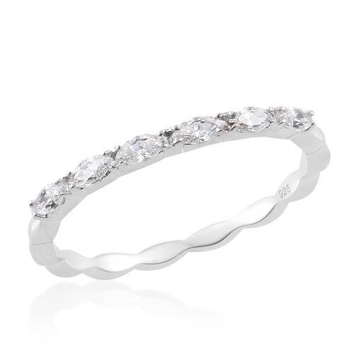 Designer Inspired - J Francis - Platinum Overlay Sterling Silver (Mrq) Ring Made with SWAROVSKI ZIRCONIA