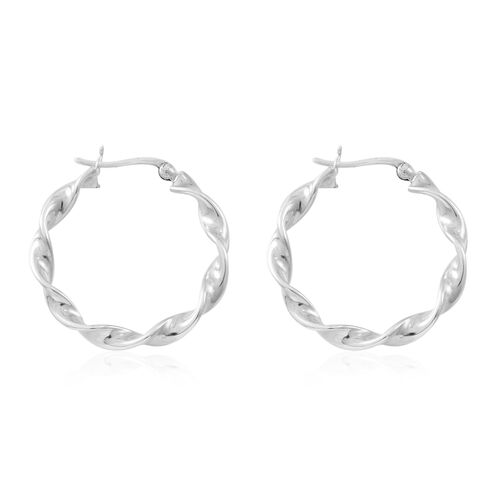 Vicenza Collection-Sterling Silver Swirled Hoop Earrings (with Clasp), Silver wt. 4.89 Gms.