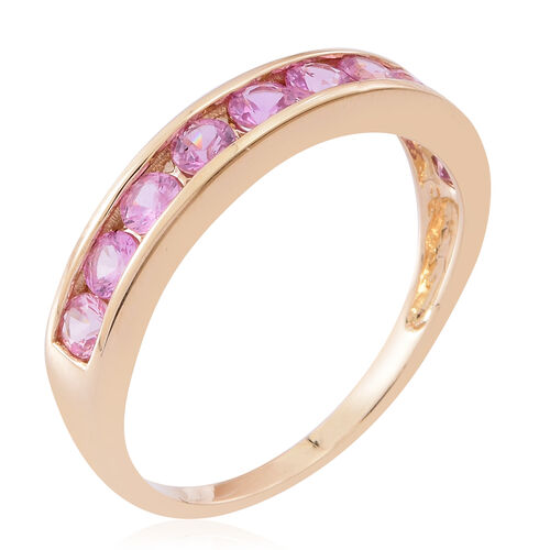 9K Y Gold AAA Pink Sapphire (Rnd) Half Eternity Band Ring 1.250 Ct.