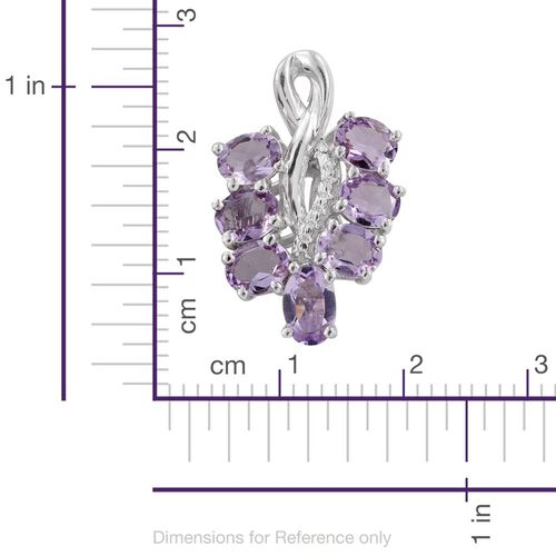 Rose De France Amethyst (Ovl) Bunch of Grapes Pendant in Platinum Overlay Sterling Silver 2.000 Ct.