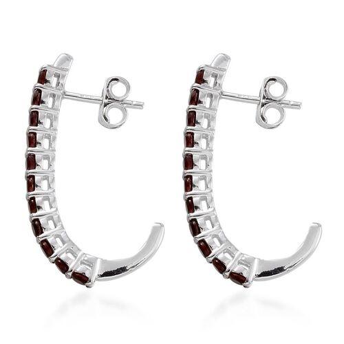 Pyrope Garnet (Rnd) J Hoop Earrings (with Push Back) in Platinum Overlay Sterling Silver 1.750 Ct.