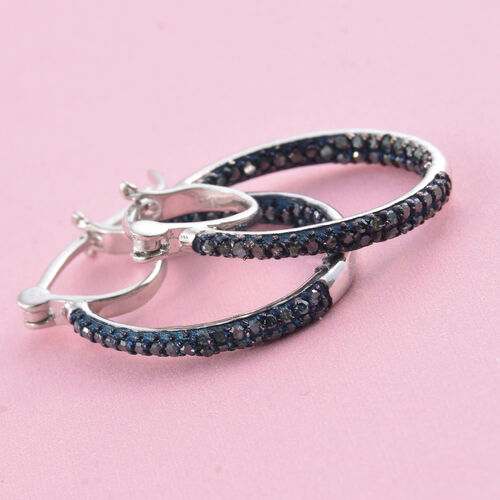 Blue Diamond (Rnd) Hoop Earrings (with Clasp) in Platinum Overlay Sterling Silver 0.500 Ct.