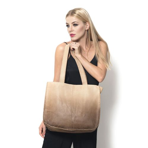 City Classic Genuine Leather Beige Ombre Effects Tote with Thread Stitching at the Edges (Size 40x35x11 Cm)