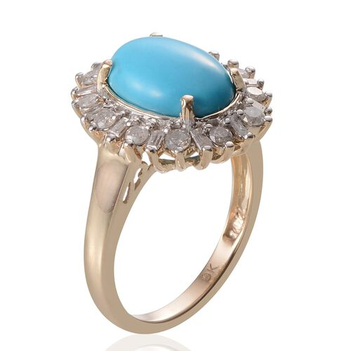 9K Y Gold Arizona Sleeping Beauty Turquoise (Ovl 2.90 Ct), Diamond Ring 3.560 Ct.