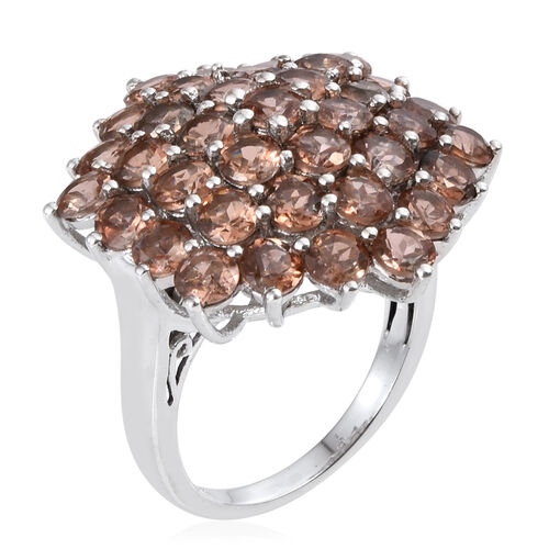 Jenipapo Andalusite (Rnd) Cluster Ring in Platinum Overlay Sterling Silver 6.500 Ct.
