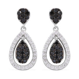 Boi Ploi Black Spinel (Rnd), Natural Zircon Earrings (with Push Back) in Rhodium Plated Sterling Silver 2.100 Ct.