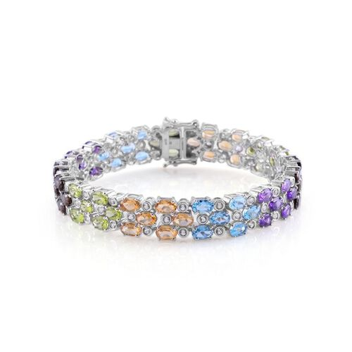 Electric Swiss Blue Topaz (Ovl), Citrine, Hebei Peridot, Amethyst, Brazilian Smoky Quartz and White Topaz Rainbow Bracelet in Platinum Overlay Sterling Silver (Size 8) 28.500 Ct.