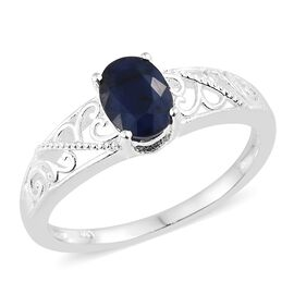 Kanchanaburi Blue Sapphire (Ovl) Solitaire Ring in Sterling Silver 1.500 Ct.