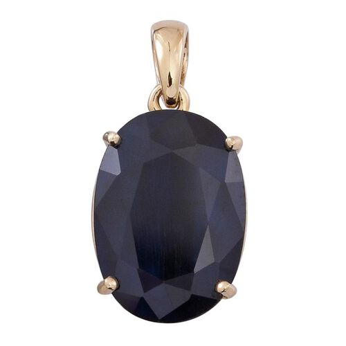 9K Y Gold AAA Premium Size Madagascar Blue Sapphire (Ovl) Solitaire Pendant 7.500 Ct.