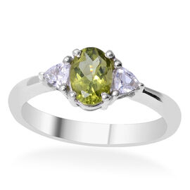 Hebei Peridot (Ovl 4.10 Ct), White Topaz Ring in Rhodium Plated Sterling Silver 4.500 Ct.