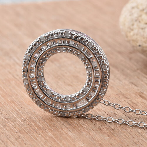 Diamond (Bgt) Circle of Life Pendant with Chain in Platinum Overlay Sterling Silver 0.250 Ct.