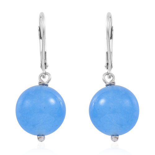 Blue Agate (Rnd) Lever Back Earrings in Rhodium Plated Sterling Silver 24.000 Ct.