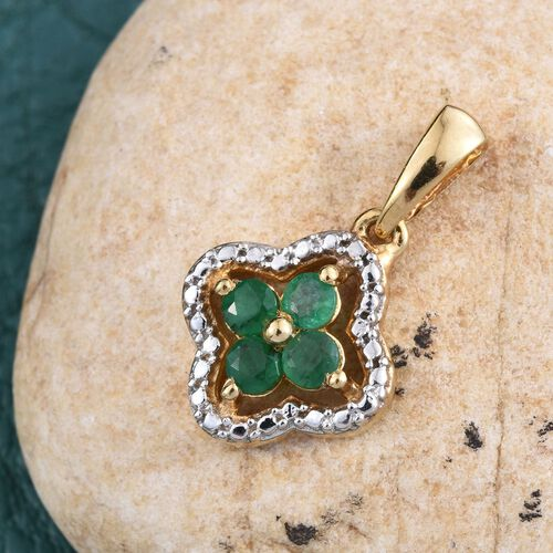 Kagem Zambian Emerald (Rnd) Pendant in 14K Gold Overlay Sterling Silver 0.500 Ct.